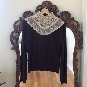 Anthropologie Lace High Collar Shirt